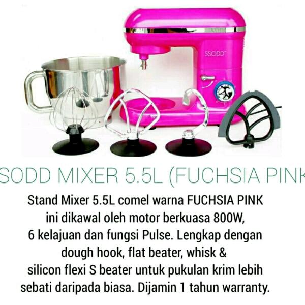 SM1301 5.5 LIters Fuchias Pink Stand Mixer SSODD