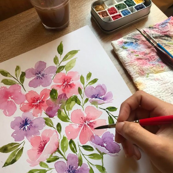 Loose Floral Watercolour Workshop1