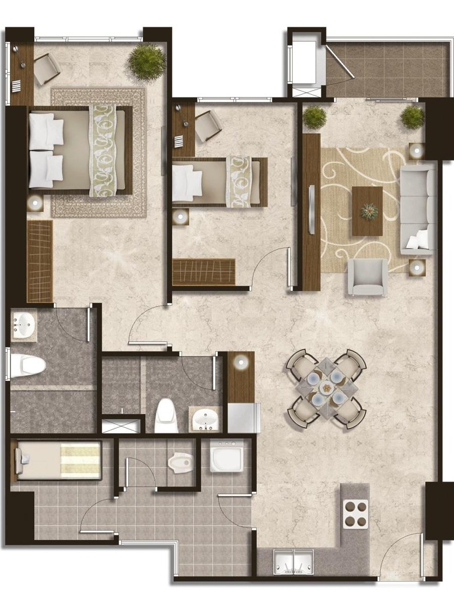 Podomoro City Deli Medan Luxurious Premiere 2+1 Bedroom