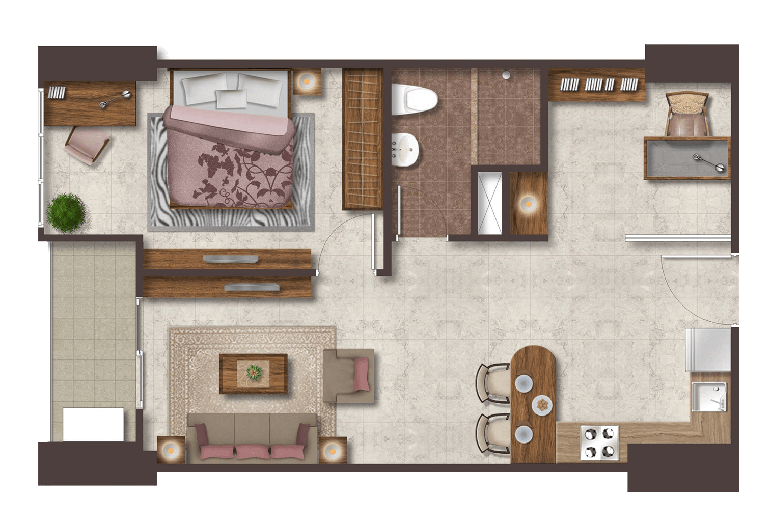 Podomoro City Deli Medan Luxurious Deluxe 1+1 bedroom
