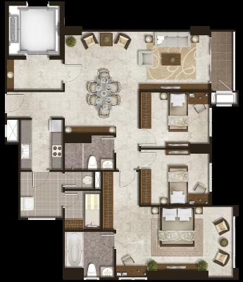 Podomoro City Deli Medan Luxurious Platinum 3+1 Bedroom