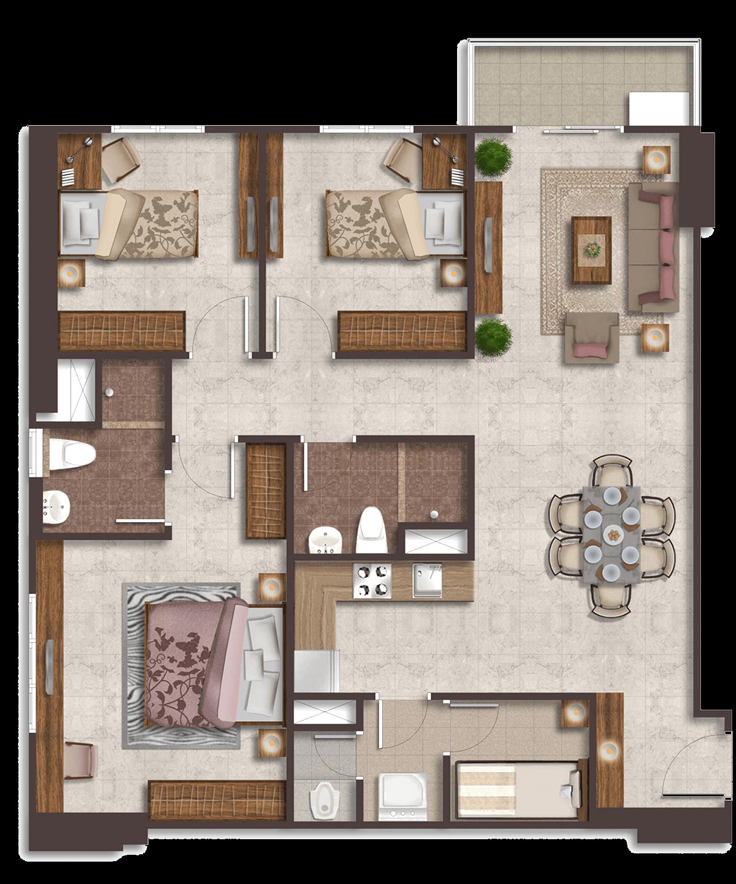 Podomoro City Deli Medan Luxurious Suite 3+1 Bedroom