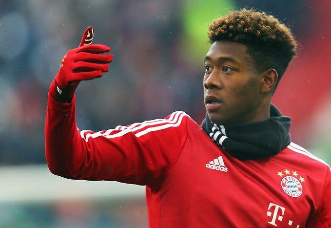 KARLSRUHE, GERMANY - JANUARY 16: David Alaba of Muenchen reacts prior to a friendly match between Karlsruher SC and FC Bayern Muenchen at Wildpark Stadium on January 16, 2016 in Karlsruhe, Germany. (Photo by Alex Grimm/Bongarts/Getty Images)
