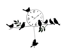 Pictorial Birds On Branch Wall Clock