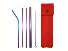 Reusable 5-in-1 Metal Straw Set With Felt Pouch (Textured)