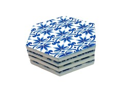 Exquisite Porcelain Coaster Set (Blue Hen)