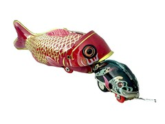Old-school Tin Toy Whale Eating Fish