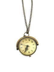 Classic Bronze Necklace Watch (Mini Round Vintage)