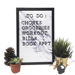 Remindful Black Border Marble Plastic Letterboard