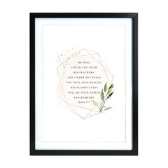 Encouraging Psalms 91:4 Black A3 Frame