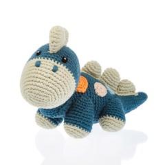 Playful Organic Dinosaur Rattle (Petrol Blue)