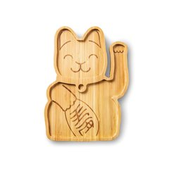 Lucky Cat Bamboo Plate