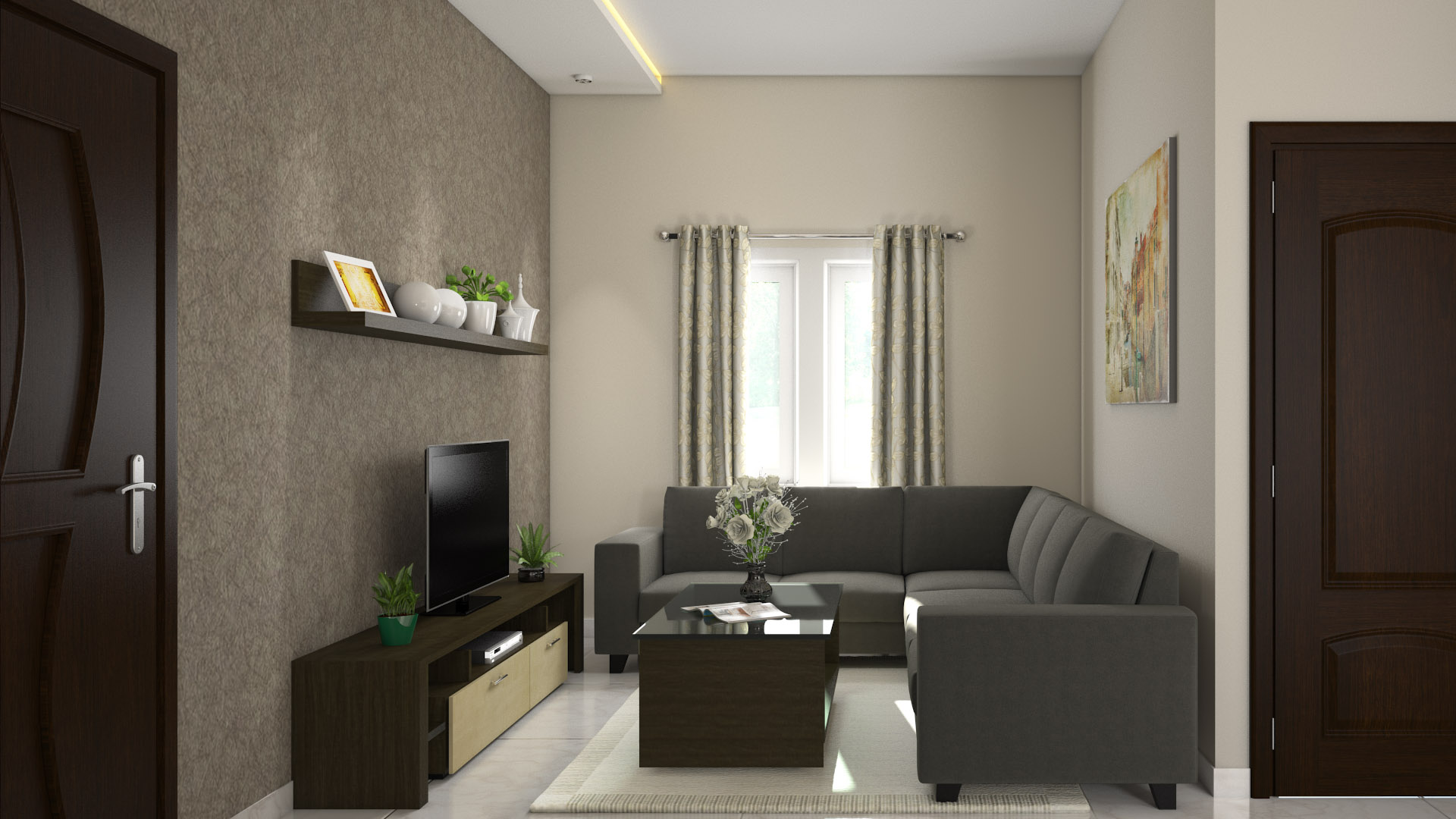 Latest modern furniture interior designs for 1 bhk living room interior