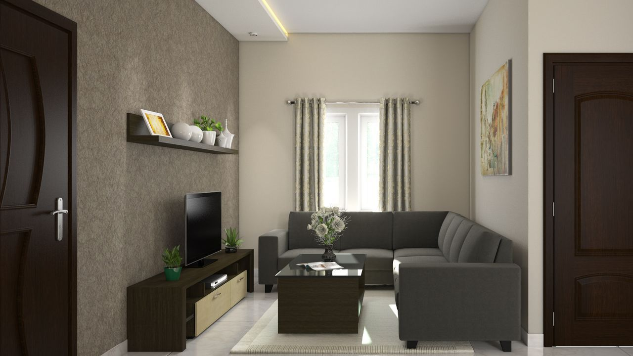 2 bhk complete interiors for Living room interior in flat