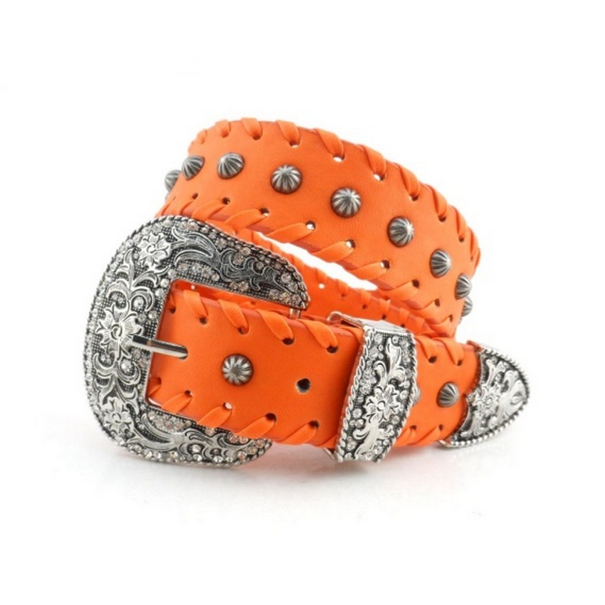 VASILYEV High End Orange Ladies Fashion Cowboy Belt