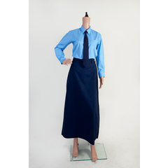 NAVY BLUE LONG SKIRT WITH GARTER