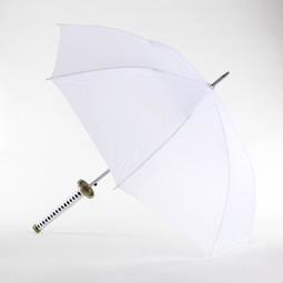Deluxe White Samurai Umbrella with Gold Handle