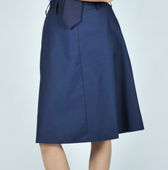 NAVY BLUE HALF SKIRT WITH GARTER AND ZIP