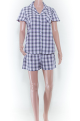 PURPLE CHECKED SHORT SLEEVE
