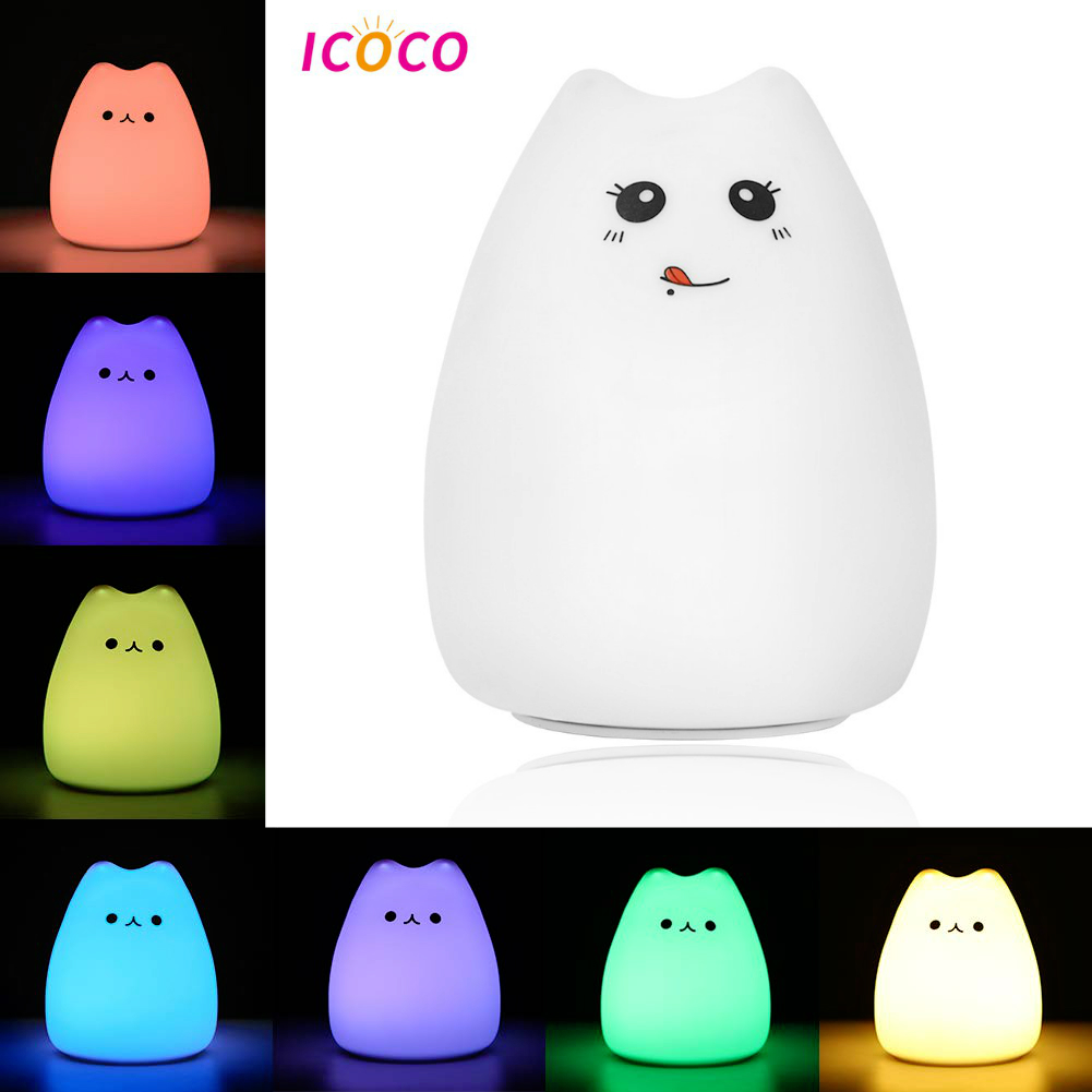 LED 7Color Silicone Luck Cat Night Light Recharge Baby Bedroom Cute Bedside Lamp