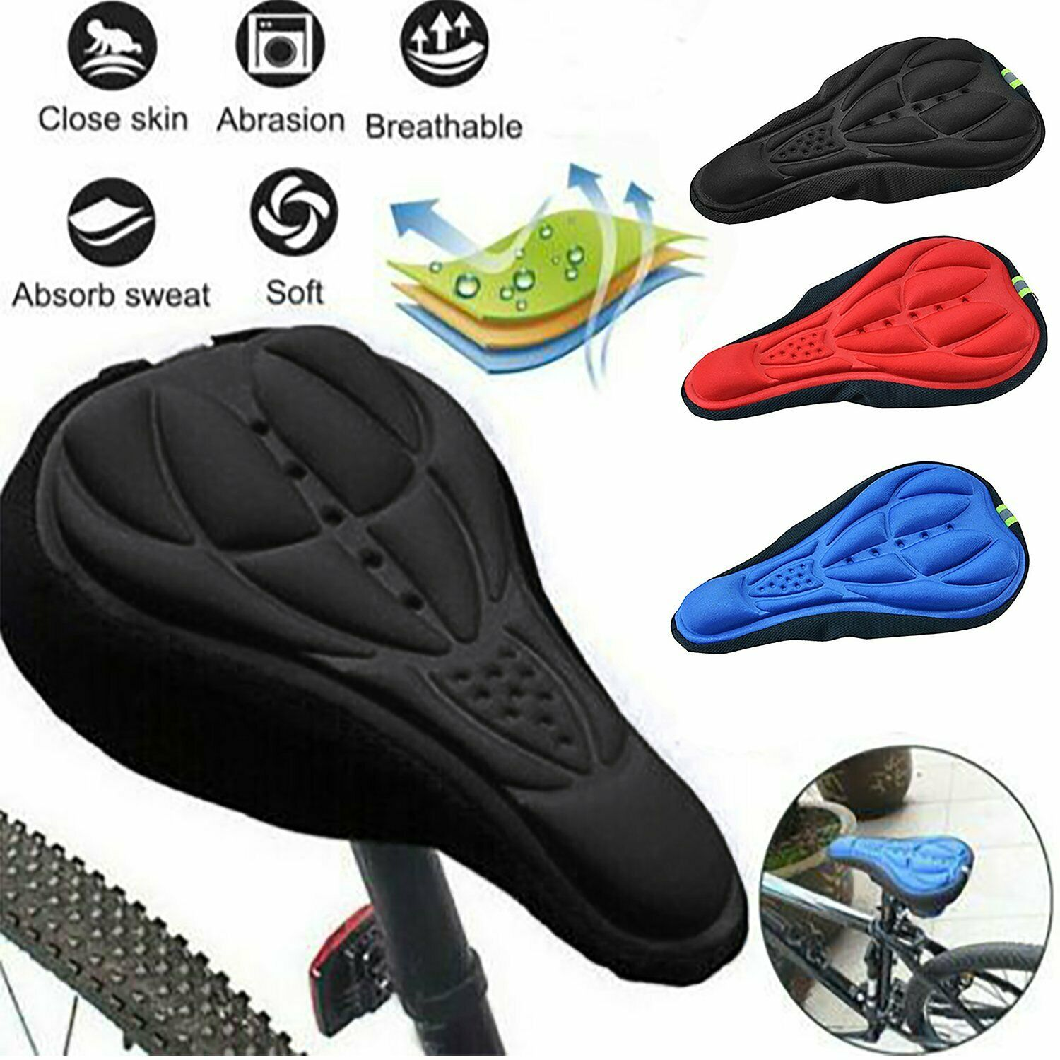 Details about  /Saddle Pad Cushion Cover Silicone Seat Extra Comfort For Mountain Bike Bicycle