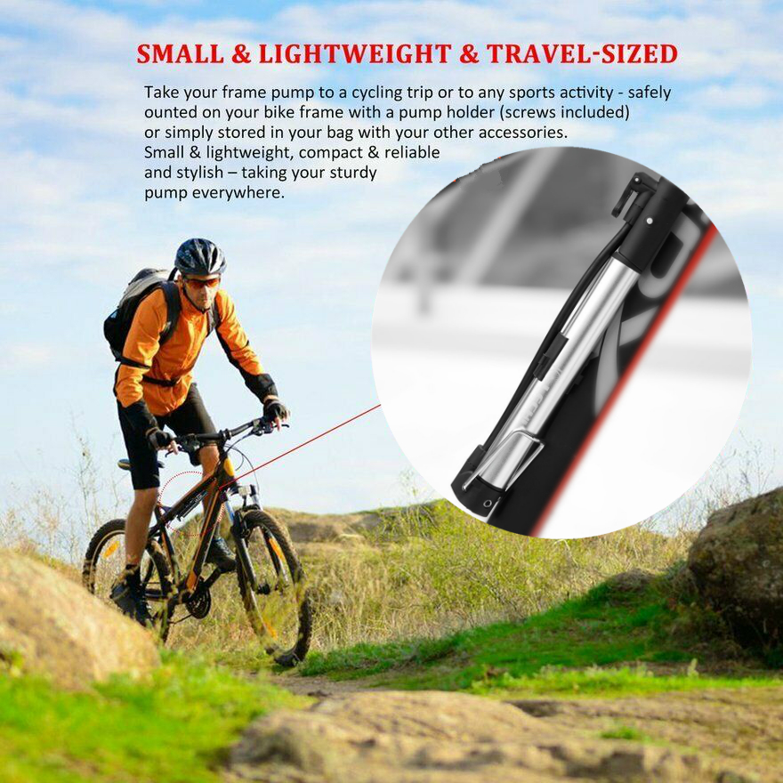 High Pressure Portable Bike Bicycle Cycling Air Pump Inflator Tyre Tire Ball NEW