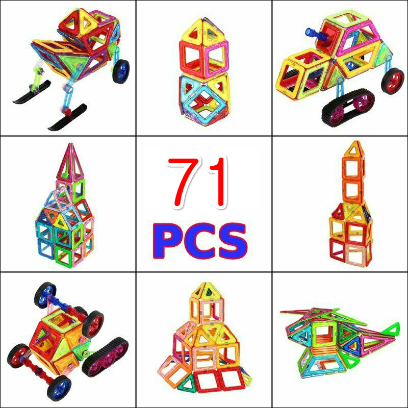 Magnetic Building Blocks Set 3D DIY Building Tiles Construction Playboards 71pcs