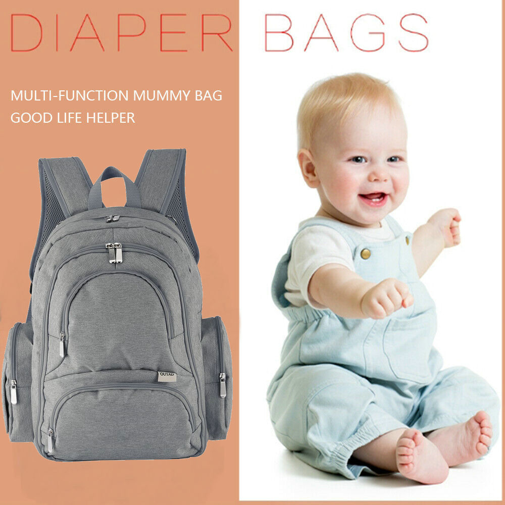 5Pcs Large Baby Diaper Bags Waterproof Nappy Changing Nursing Maternity Backpack