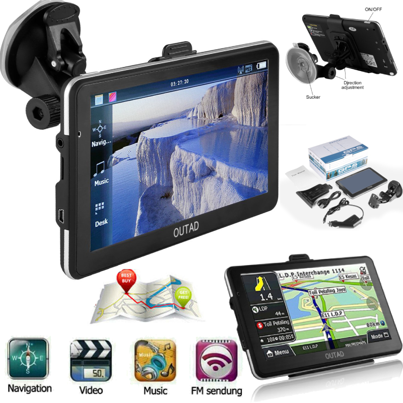 7/'/' Touch Screen Truck Car GPS Navigation Navigator With Free Maps Audio 8GB USA
