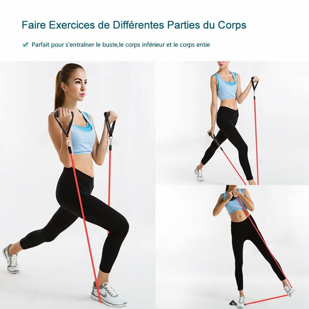 Resistance Band Yoga Pilates Abs Exercise Stretch Fitness Tube Workout B B∨