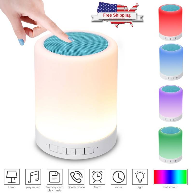 Wireless Portable Bluetooth Speakers Outdoor Touch Control Led Night Light Mini Ebay