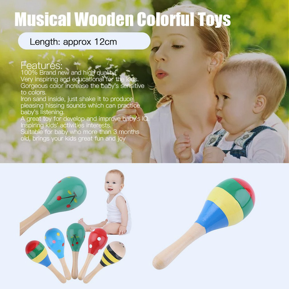Details about 5pcs Baby Kids Sound Music Gift Toddler Rattle Musical Wooden  Colorful Toys VN