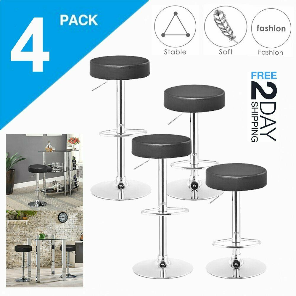 Phenomenal Details About Set Of 4 Bar Stools Pu Leather Adjustable Swivel Pub Dining Chair Kitchen Black Beatyapartments Chair Design Images Beatyapartmentscom