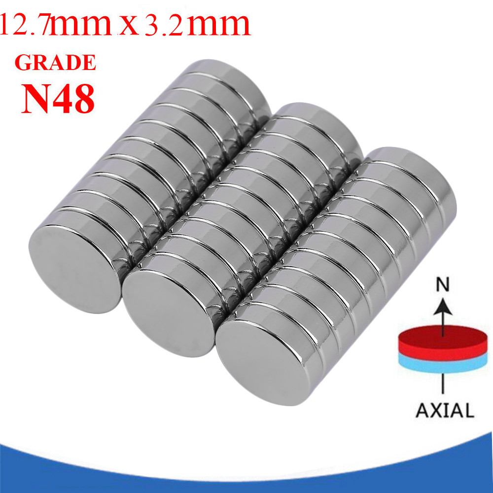 30PCS 12.7Φ3.2MM Neodymium Rare Earth Disc Magnets N48 Nickel Plated Magnet BR
