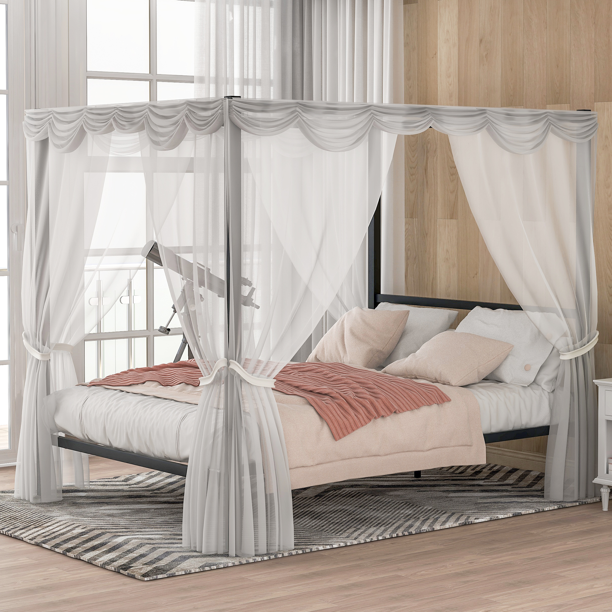 Picture of: Modern Canopy Queen Metal Bed White Platform Bed Frame No Box Spring Required