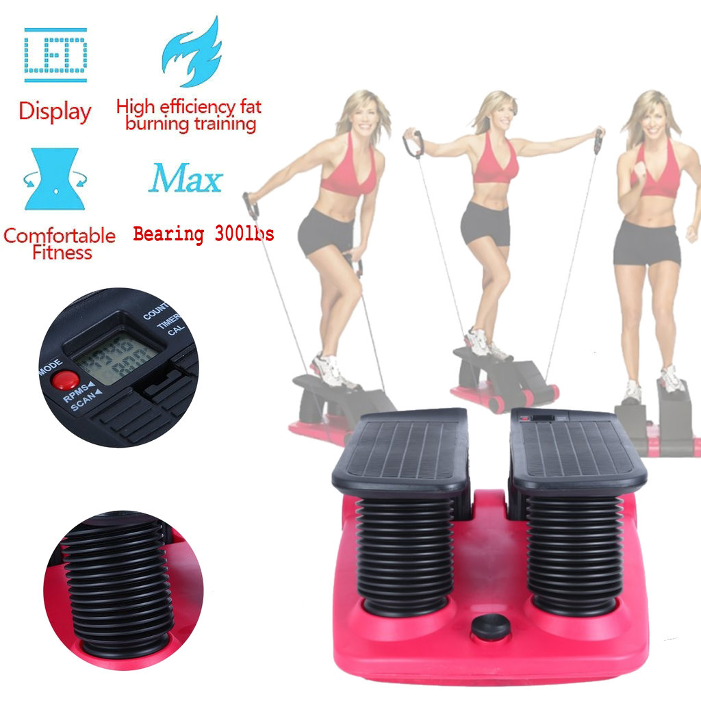 Lose Weight and Burn More Calories Black+Red Indoor Fitness Stair Stepper Fitness Workout Step Platform Trainer with Resistance Band Aerobic Exercise Stepper