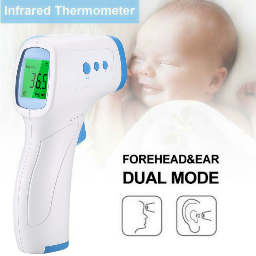 BLUE LCD Digital Display Baby IR Infrared Forehead Thermometer Temperature FDA