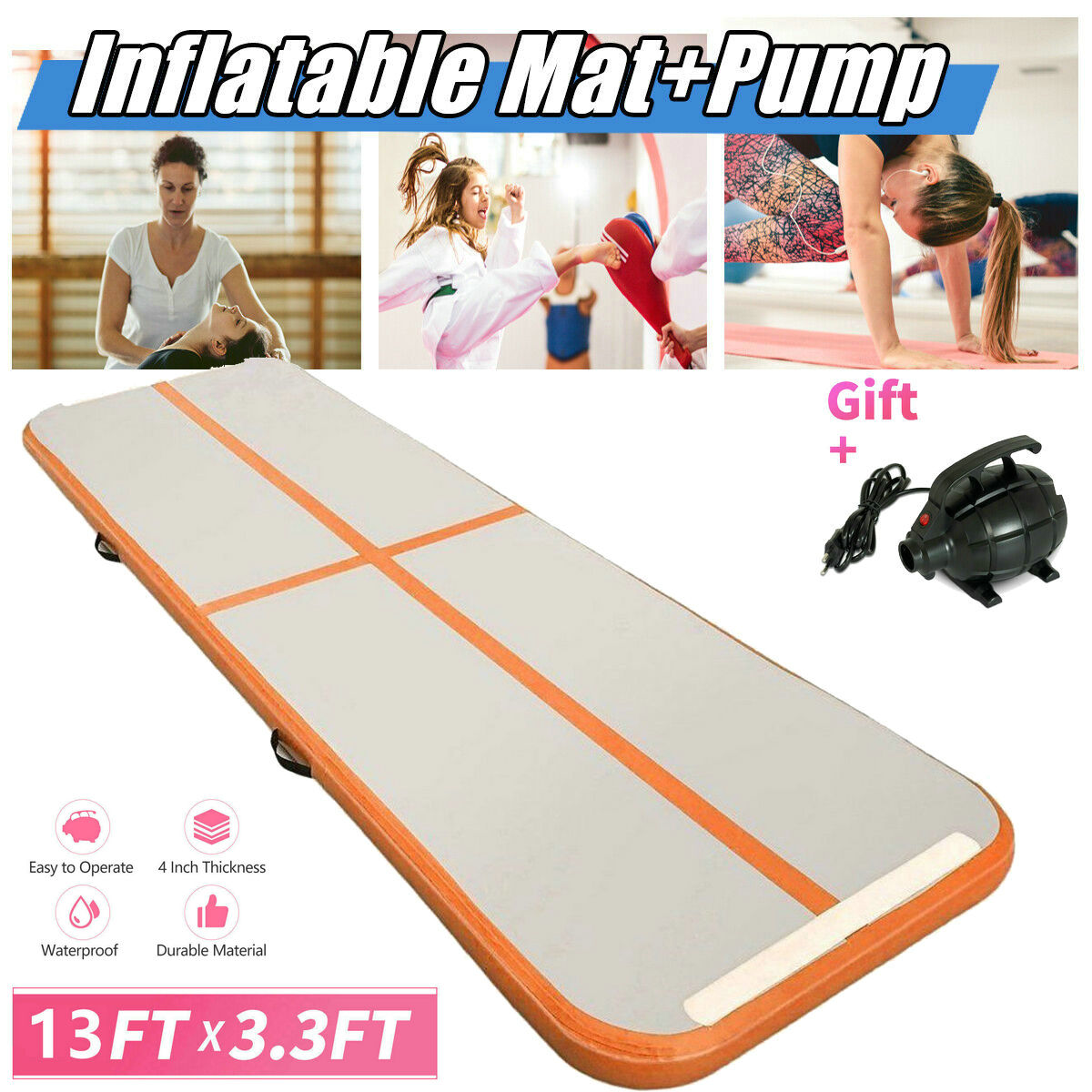 13ft x 3.3ft Inflatable Tumbling Mat Track Air Track Floor Home Gymnastics US TO