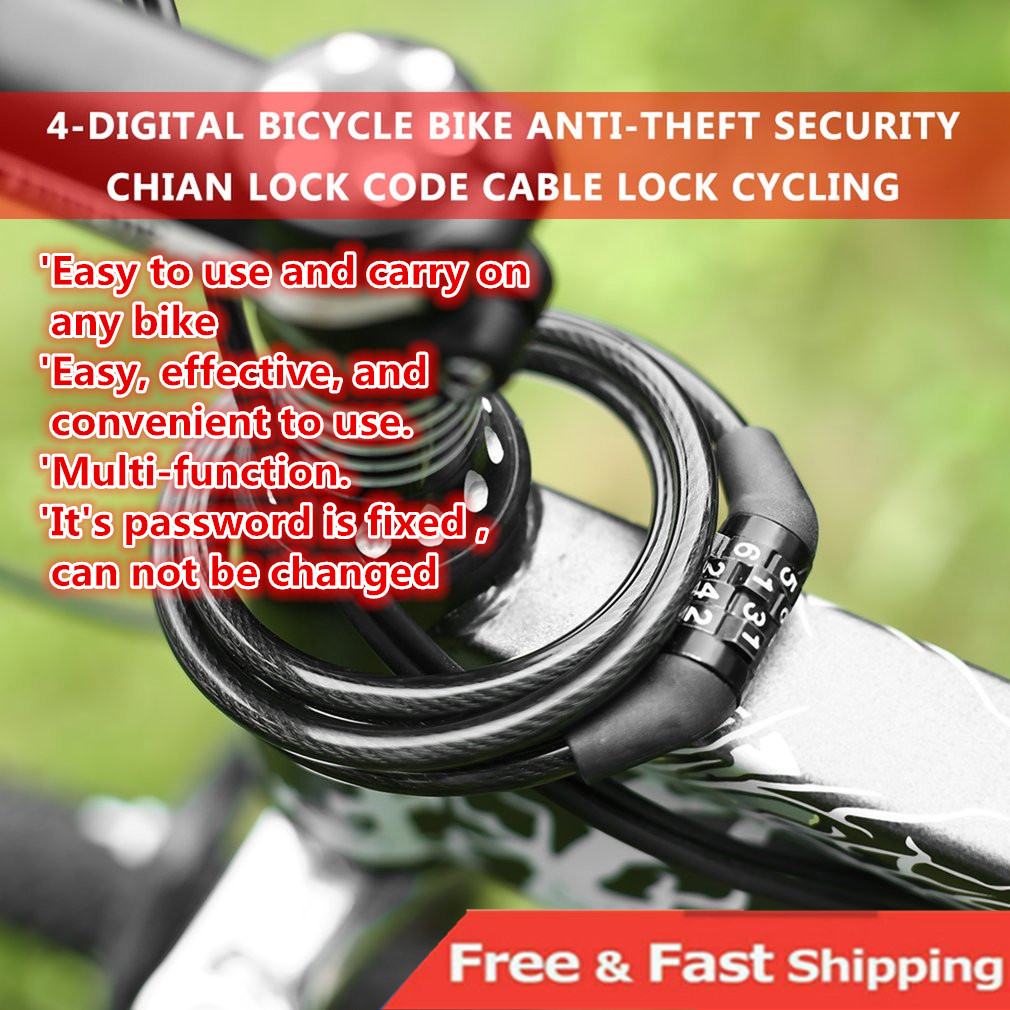 Bicycle Bike Password  Locks 4 Digit Cycling Code Lock Combination Steel Cable