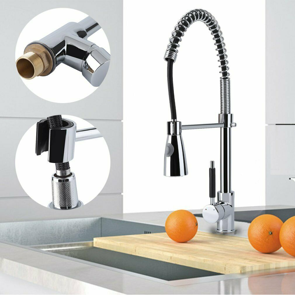Details About Spring Chrome Industrial Kitchen Bar Sink Faucet Pull Out Sprayer Single Wx