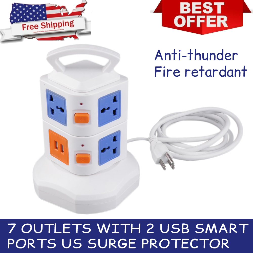 FREE SHIPPING PO-117 6 Outlet Surge Protector Power Strip 8ft Cord 2 PACK