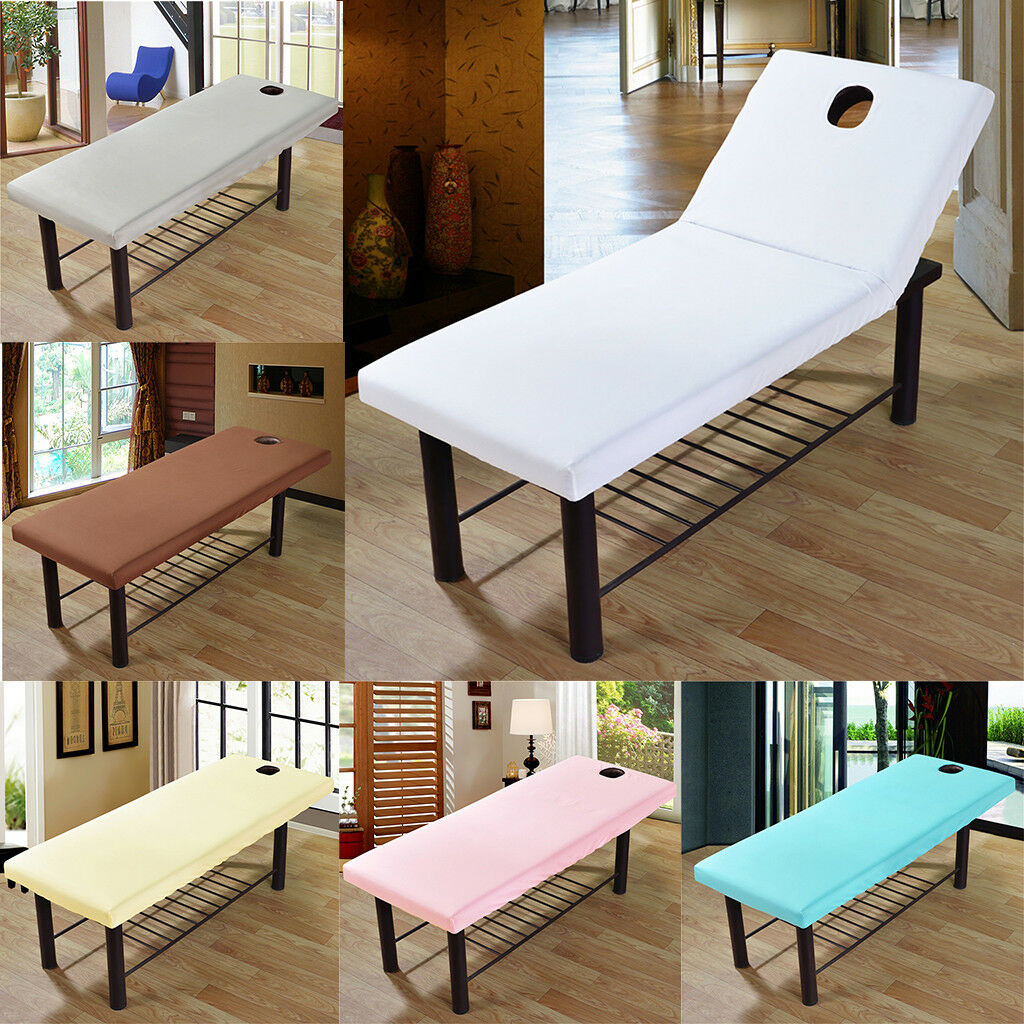 Beauty Massage Cure Bed Table Elastic Cover Sheet with Face Hole 190x80cm