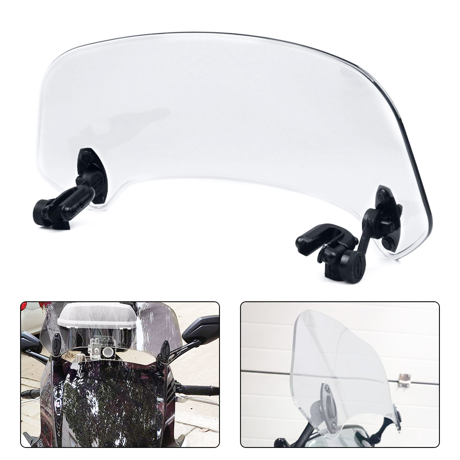 Motorcycle Adjustable Clip On Extension Windshield Wind Deflector w//Mounting Clip Kit