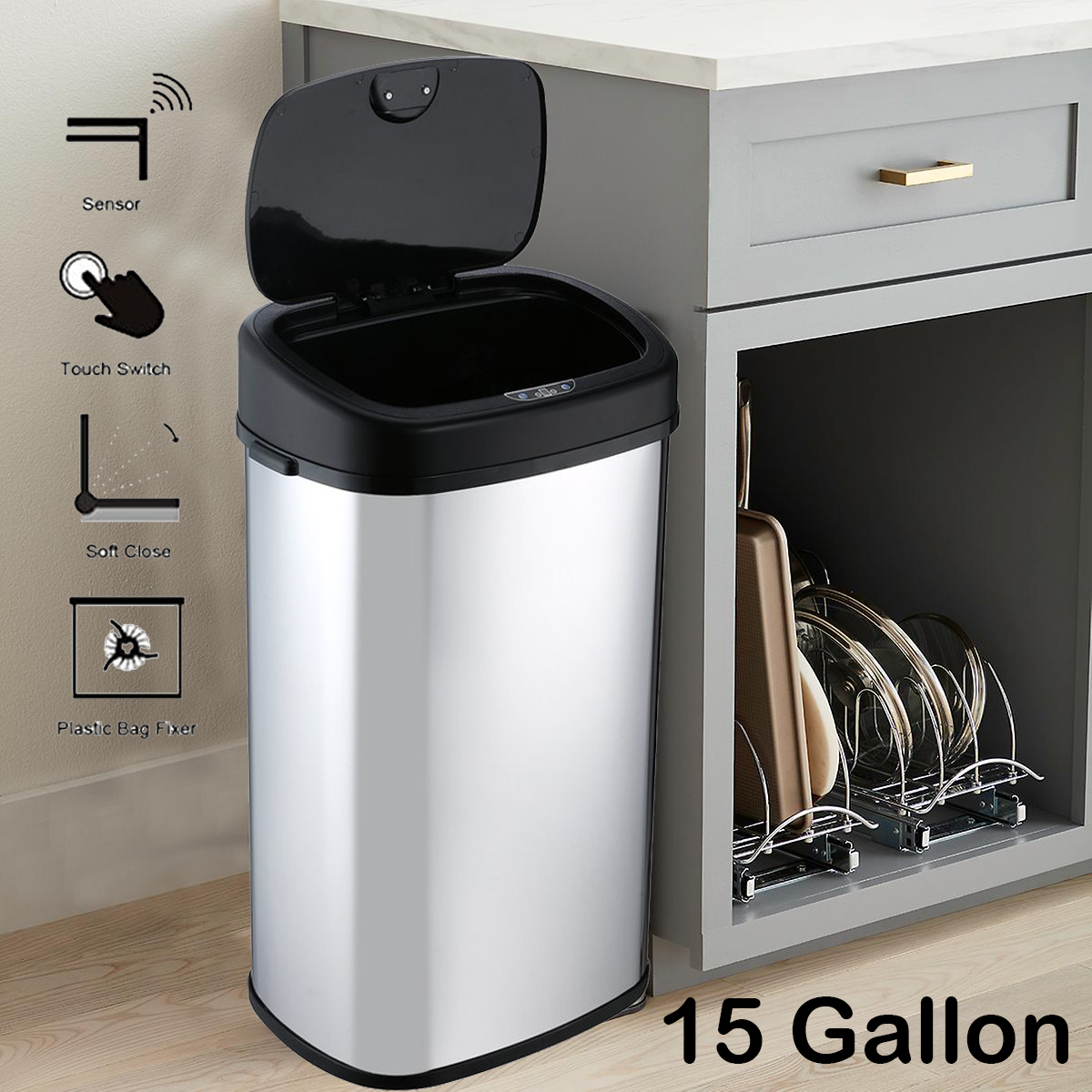 Details about Trash Cans For Kitchen Garbage Can W/ Lid Automatic Touchless  Slim Motion MY