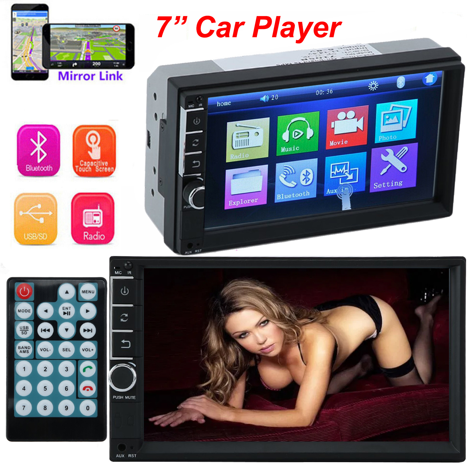 """7/"""" Bluetooth Touchscreen Double 2Din In dash Car Stereo Radio Mp3 MP5 Player BP"""