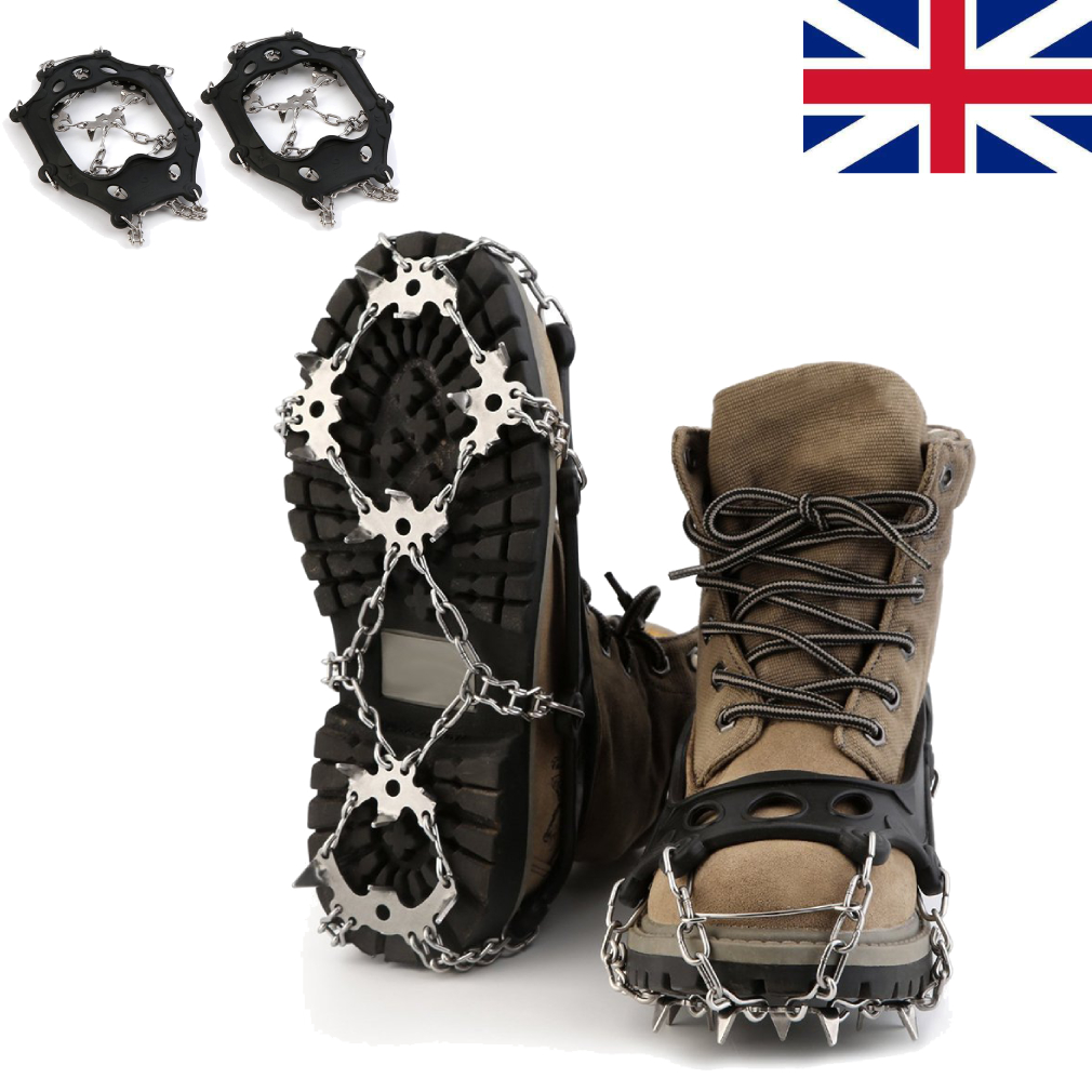 4 Sizes  Anti Slip snow Ice Grippers for Boots /& Shoes Grips Spikes Crampons