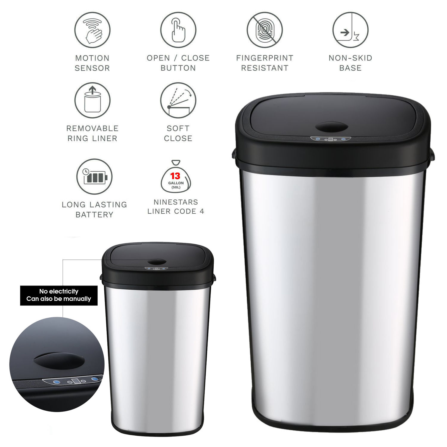 Details about 18 Gallon Automatic Touch-free Sensor Stainless Steel Trash  Can Kitchen Silver