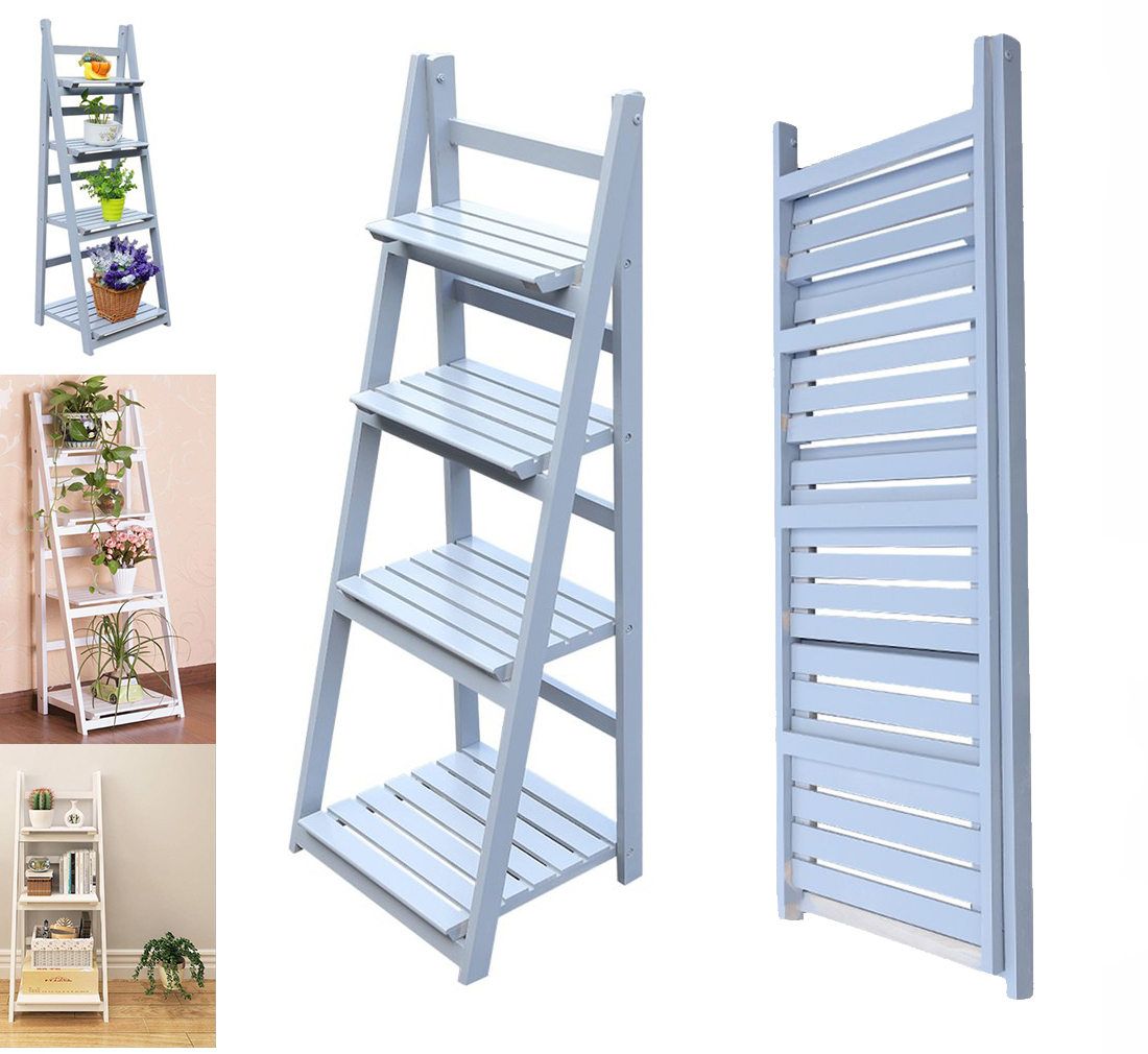 Details About 4 Tier Ladder Shelf Bookshelf Bookcase Display Plant Flower Leaning Shelf Gray
