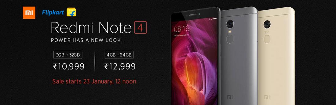 Mi Note 4 Sales Starts on 23 January