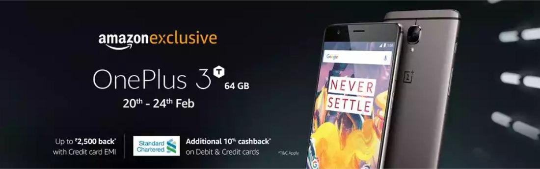 Flat 5500 Cashback on OnePlus 3